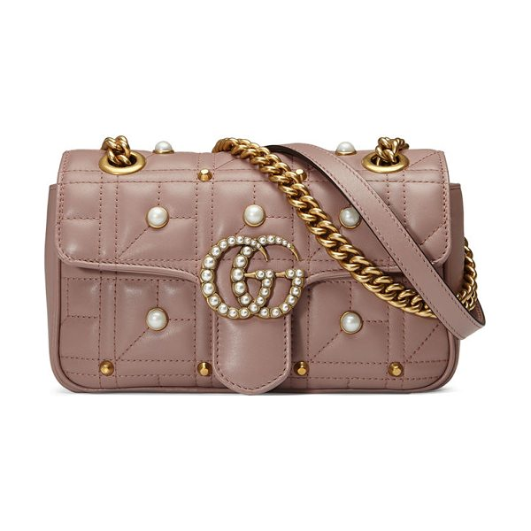 Gucci GG Marmont Pearly Matelassé Mini Bag in nude - Gucci matelass leather shoulder bag with pearly studs....