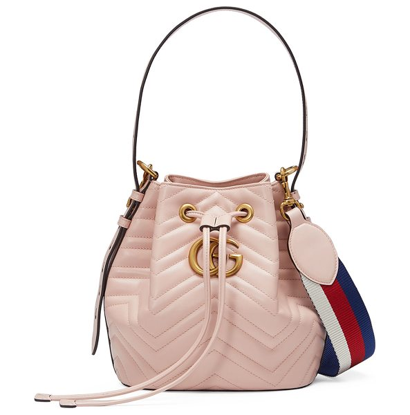 Gucci GG Marmont Quilted Leather Bucket Bag in pink - Gucci softly structured matelass chevron calfskin bucket...