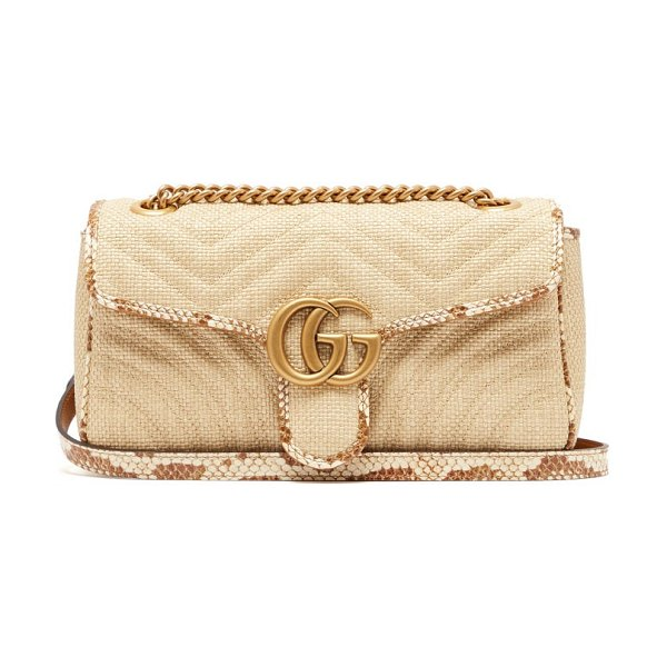 Gucci gg marmont quilted shoulder bag in beige multi