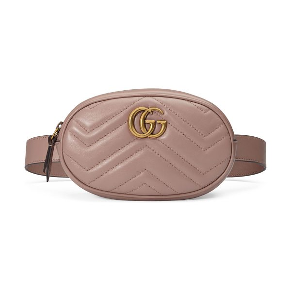 Gucci GG Marmont Small Matelasse Leather Belt Bag in beige - Gucci matelass chevron leather belt bag. May also be...