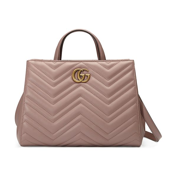 Gucci GG Marmont Small Matelassé Top-Handle Bag in nude - Gucci matelass leather bag with antiqued golden...
