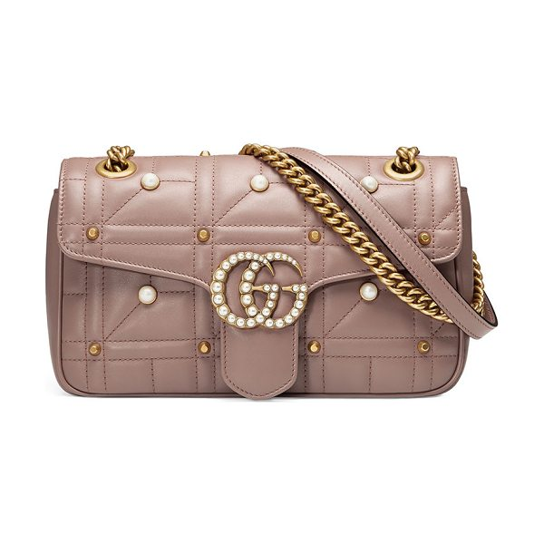Gucci GG Marmont Small Pearly Shoulder Bag in nude