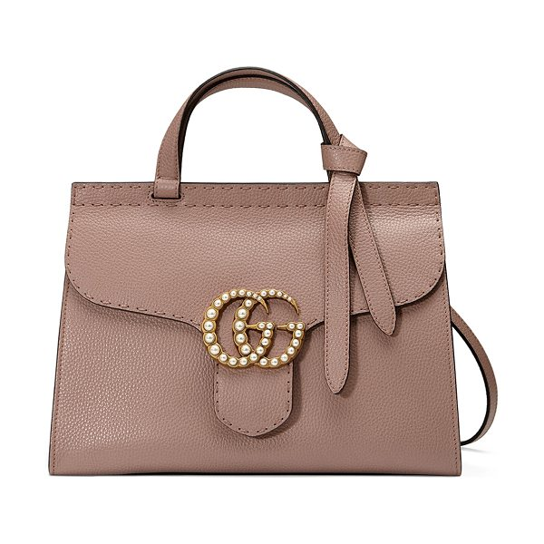 Gucci GG Marmont Small Pearly Top-Handle Satchel Bag in nude - Gucci grained leather shoulder bag with golden hardware....