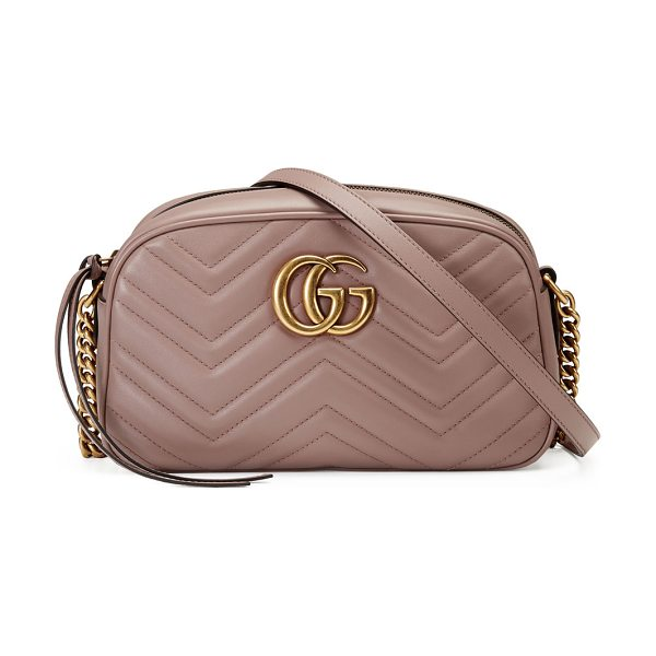 Gucci GG Marmont Small Quilted Camera Bag in beige - Gucci chevron-quilted leather camera bag. Antiqued...