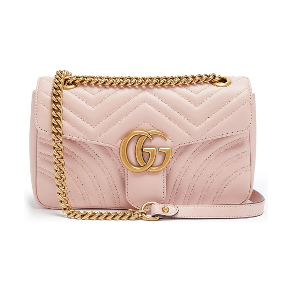 Gucci gg marmont small quilted-leather shoulder bag in light pink