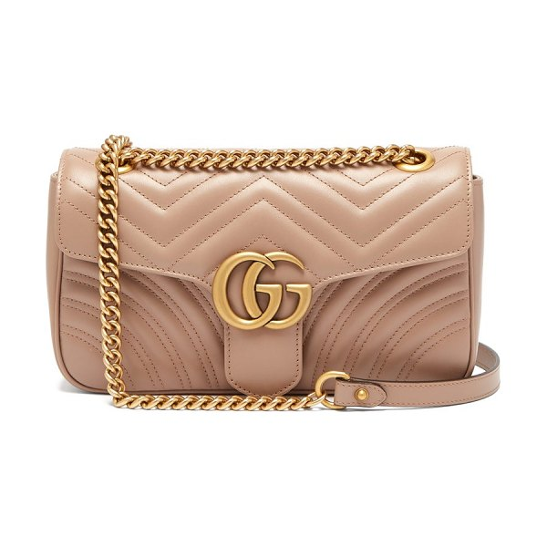 Gucci gg marmont small quilted-leather shoulder bag in nude