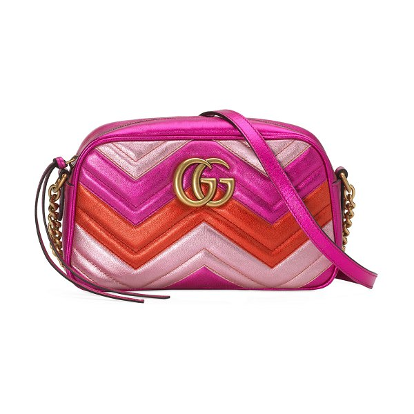 Gucci GG Marmont Small Quilted Metallic Leather Camera Bag in pink/red - Gucci chevron-quilted metallic leather camera bag....