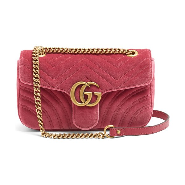 Gucci gg marmont small quilted velvet cross-body bag in pink
