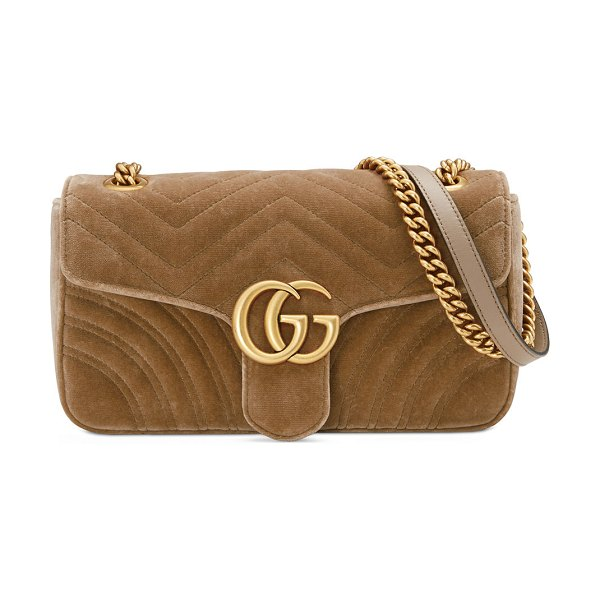 Gucci GG Marmont Small Quilted Velvet Crossbody Bag in beige - Gucci quilted velvet crossbody bag with leather trim....