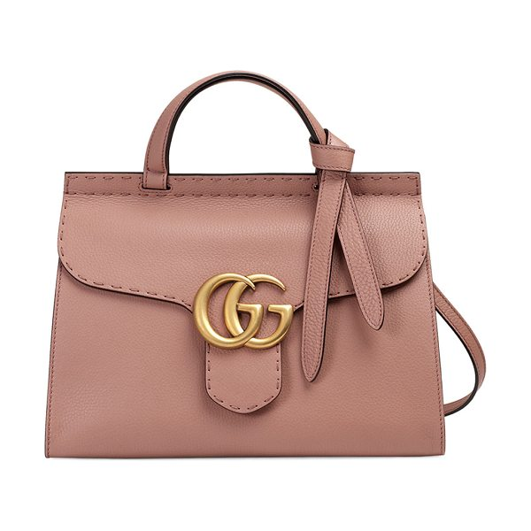 Gucci GG Marmont Small Top-Handle Satchel Bag in taupe - Gucci grained leather shoulder bag with golden hardware....