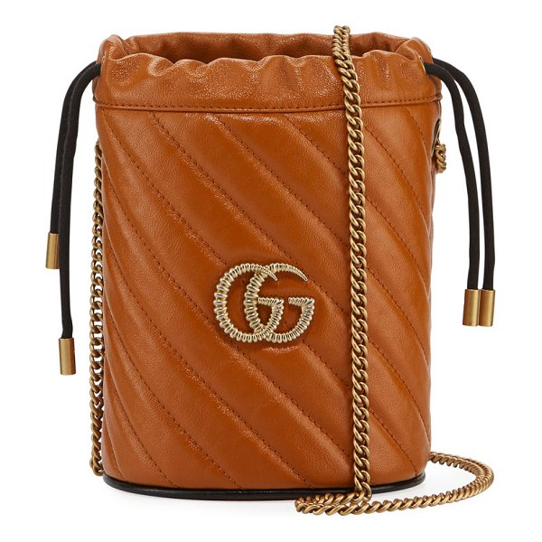 Gucci GG Marmont Torchon Mini Leather Bucket Bag in medium brown