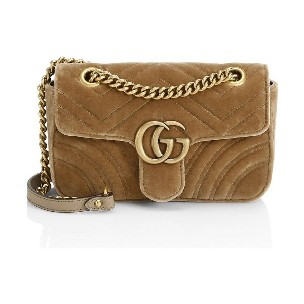 Gucci mini gg marmont velvet bag in taupe - Sliding chain strap can be worn as a shoulder strap or...