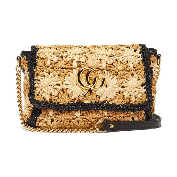 Gucci gg marmont woven shoulder bag in beige multi