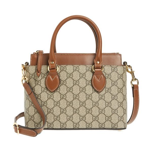Gucci gg mini linea a canvas & leather crossbody tote in beige ebony/ tuscany - Smooth leather details and Gucci's GG-Supreme canvas add...