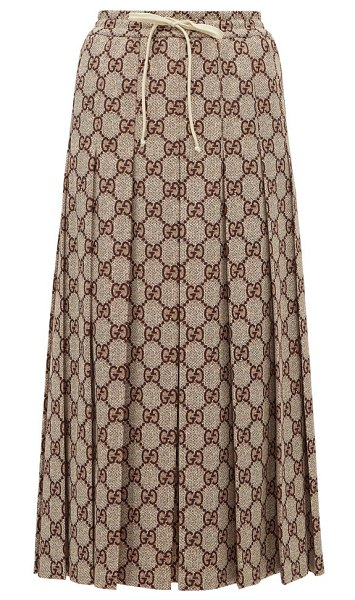 Gucci gg-print pleated midi skirt in brown multi