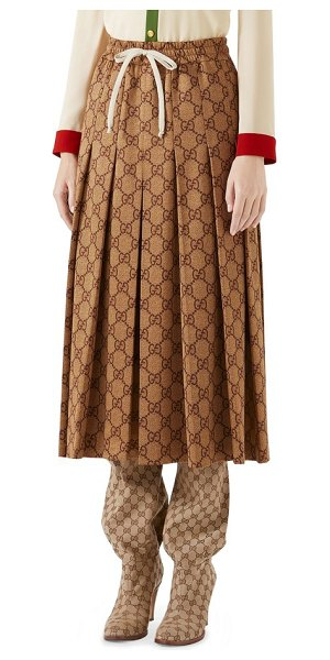 Gucci gg print pleated midi skirt in brown