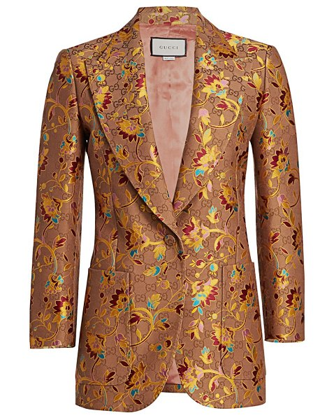 Gucci gg ramage-print silk & wool jacket in beige mix