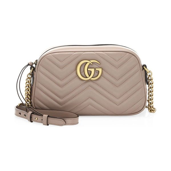 "GUCCI gg small matelasse leather camera bag in antiquerose - Adjustable chain-and-leather shoulder strap, 23.5"" drop...."