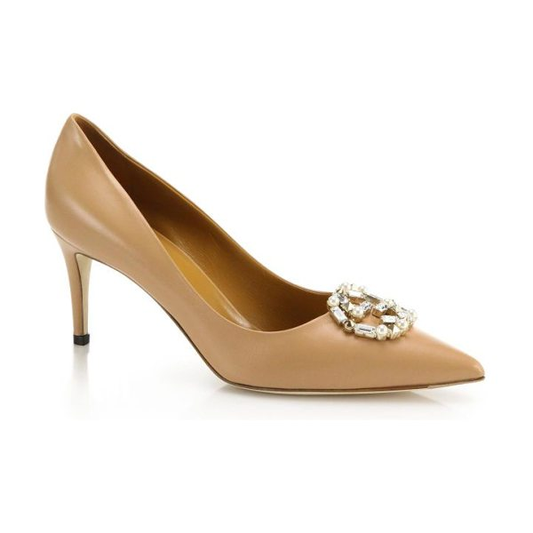 """GUCCI Gg sparkling crystal & faux pearl logo leather pumps - Self-covered heel, 3"""" (75mm)Leather upperSimulated faux..."""
