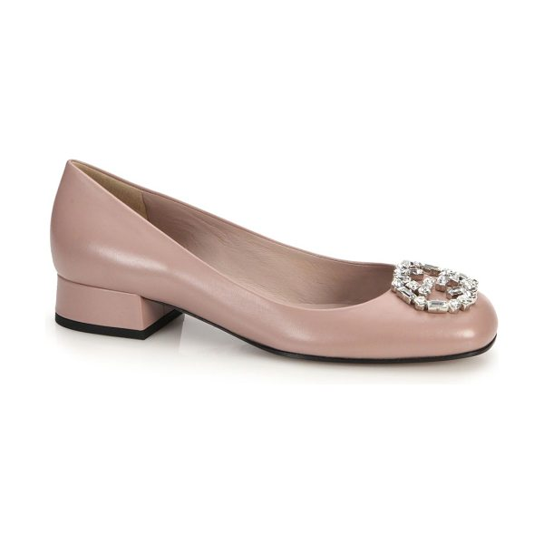 "Gucci Gg sparkling crystal & leather logo pumps in pink - Self-covered heel, 1"" (25mm)Leather upper with Swarovski..."