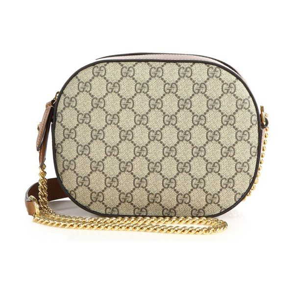"GUCCI gg supreme mini chain bag in beige - Chain shoulder strap with leather shoulder panel, 22""..."