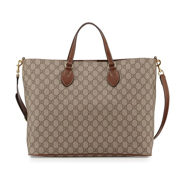 Gucci GG Supreme Top-Handle Tote Bag in tan - Gucci soft GG supreme canvas tote bag. Golden hardware...