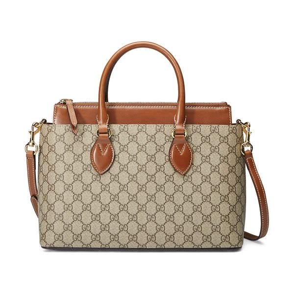 Gucci GG Supreme Tote Bag in brown - Gucci GG supreme canvas with brown leather detail....