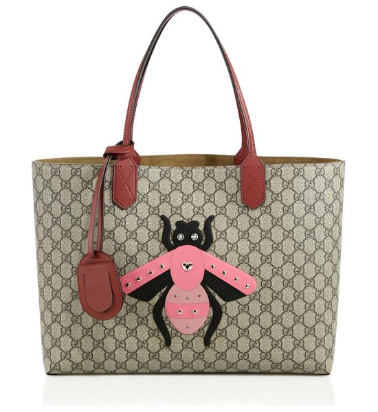"Gucci gg supreme bee tote in beige-multi - Double leather handles, 8"" drop. Interior zipper and..."