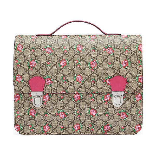 Gucci Girls' GG Supreme Rosebud Backpack in beige - Gucci backpack in GG supreme canvas with rosebud print....