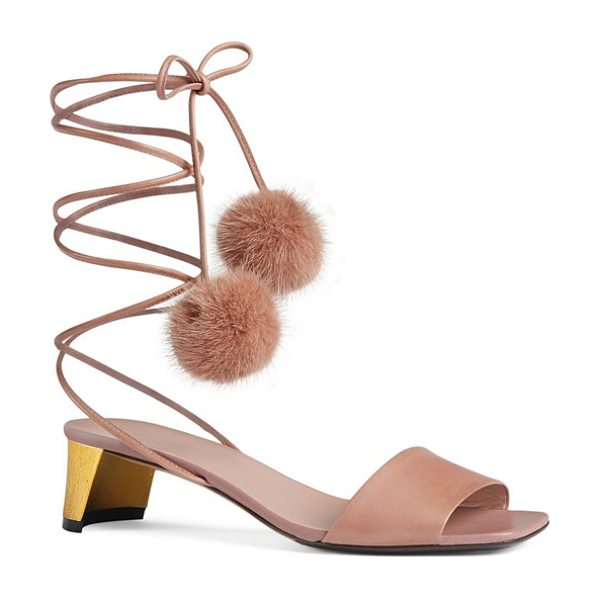 Gucci heloise sandal in light mauve leather - Slender leather laces tipped with plush pompoms of...