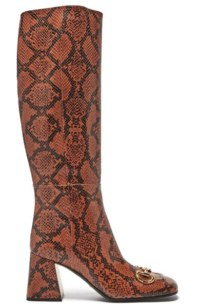 Gucci horsebit python-effect leather knee-high boots in python