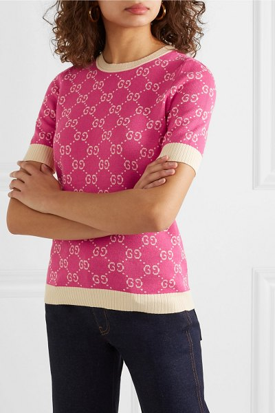 Gucci intarsia cotton sweater in pink - Gucci's archival 'GG' motif first debuted in the '70s...