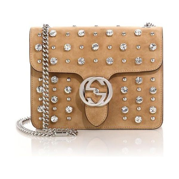 Gucci Interlocking studded suede shoulder bag in camel - Suede with stud and crystal detailLight silvertone...