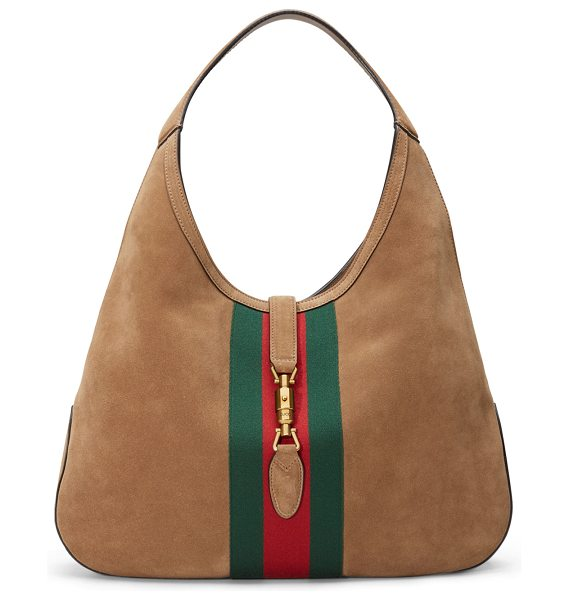 "GUCCI Jackie Soft Large Suede Hobo Bag in taupe/green/red - Gucci ""Jackie"" soft suede hobo bag. Green/red/green..."