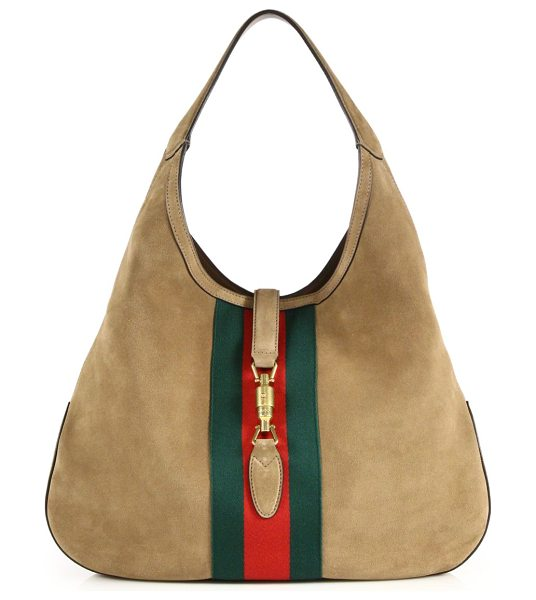 "Gucci jackie soft large suede hobo in beige-multi - Single suede handle, 9.4"" drop. Piston strap closure...."