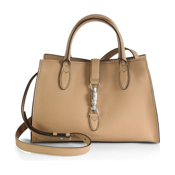 Gucci Jackie soft leather top handle bag in camel