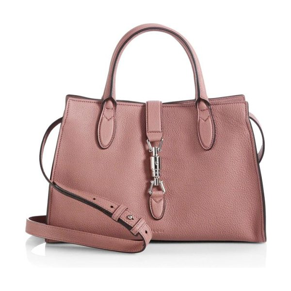 GUCCI Jackie soft leather top handle bag in softrose - LeatherPalladium hardwareUnlinedPiston strap...