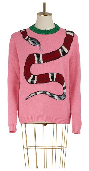 Gucci Kingsnake wool knit sweater in pink