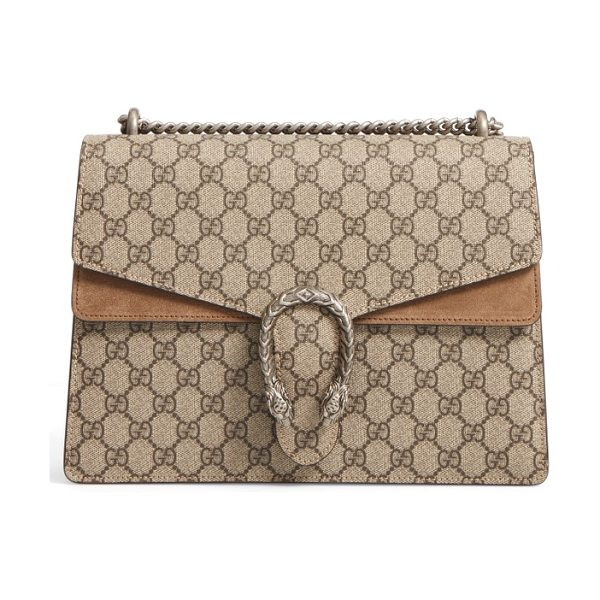 Gucci large dionysus gg supreme canvas & suede shoulder bag in beige ebony/taupe