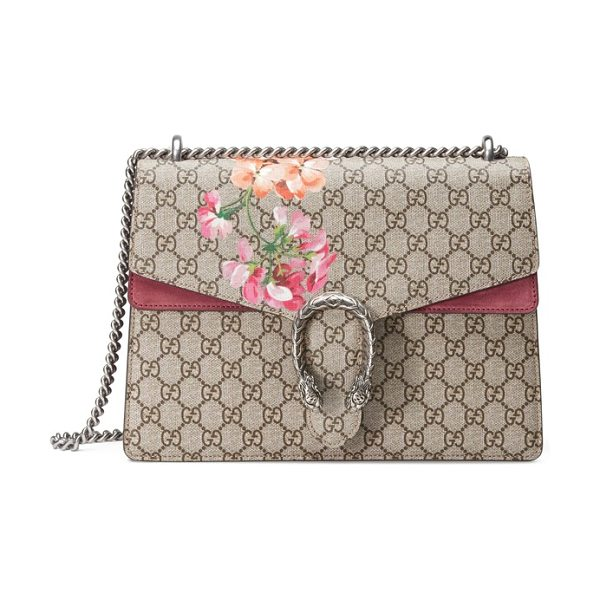 Gucci large floral gg supreme canvas & suede shoulder bag in beige eb/multi/dry rose - Gucci's special-edition Blooms print adds a splash of...