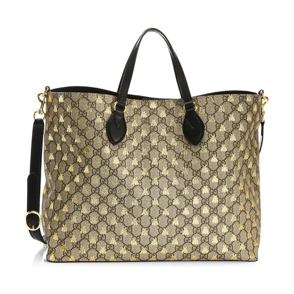"""GUCCI large tote in brown - Double leather top handles, 4.5"""" drop. Removable..."""