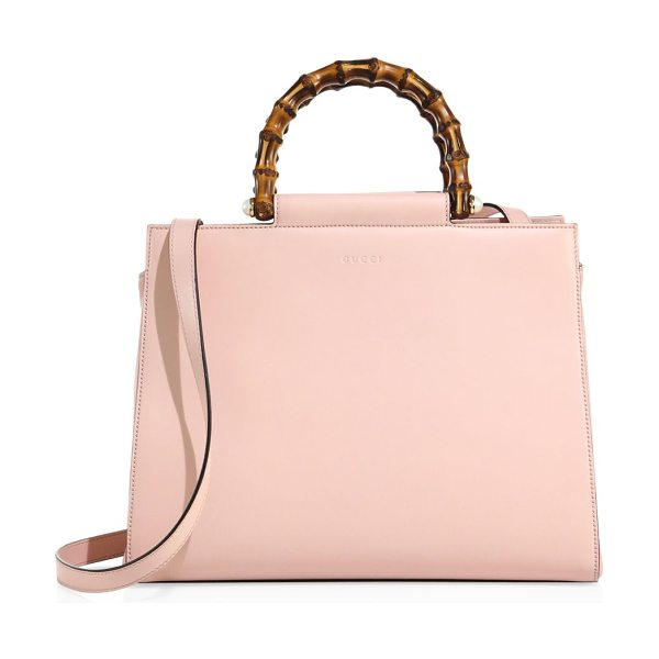 "Gucci nymphaea leather top handle tote in perfectpink - Double bamboo top handles, 3"" drop. Removable shoulder..."