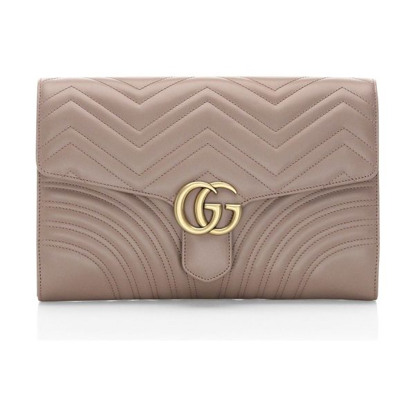 Gucci gg marmont clutch in rose - Matelasse chevron leather clutch with a heart. Flap with...