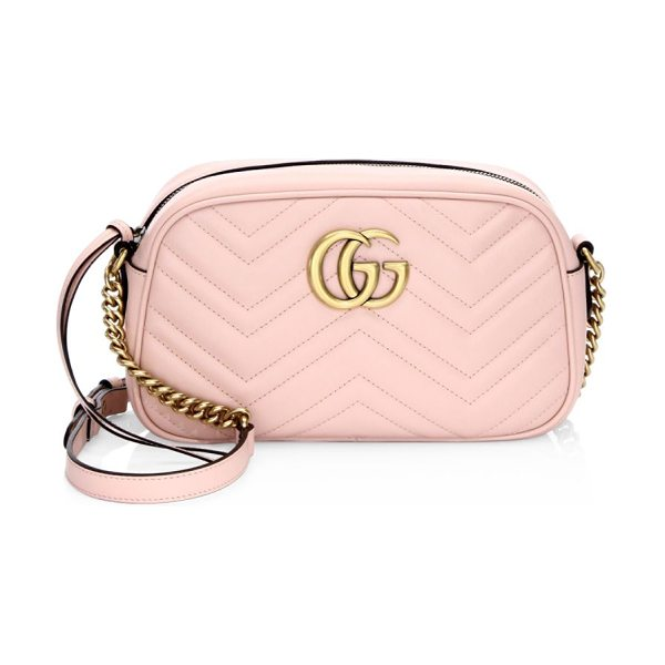 Gucci gg marmont matelasse shoulder bag in pink - A chic crossbody bag in quilted leather. Adjustable...