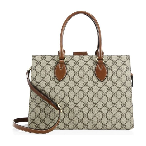 Gucci leather crossbody tote in beige-cuir - Add a stylish charm to your appearance with this tote....