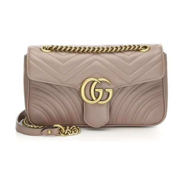 GUCCI gg marmont matelasse small shoulder bag in antiquerose - Quilted leather shoulder bag with a softly structured...