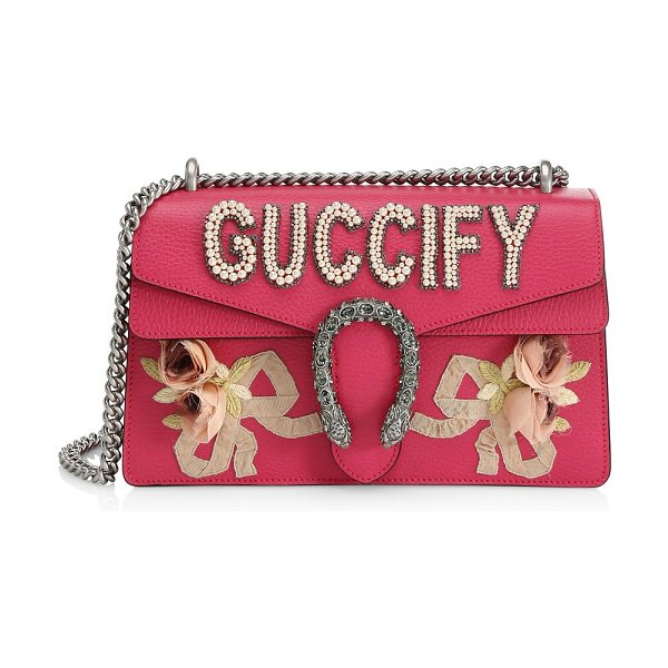 "Gucci leather shoulder bag in petal pink - Chain shoulder strap, 15"" drop. Tiger head closure...."