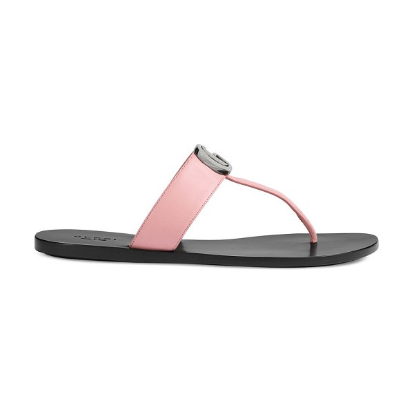 Gucci leather thong sandals with double g in wild rose