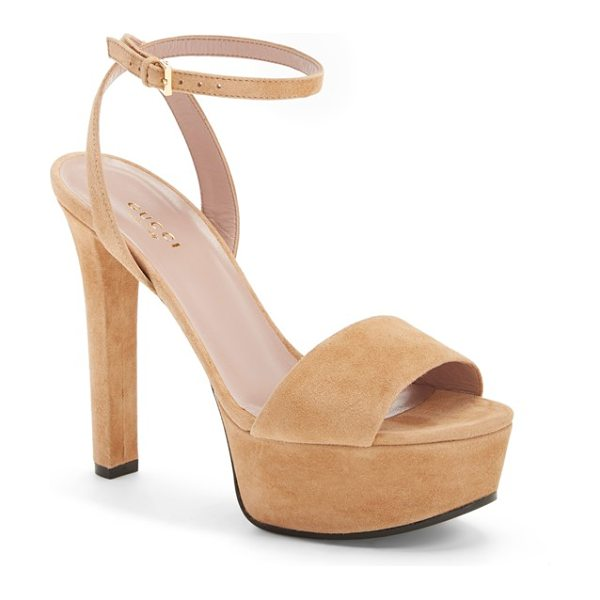 Gucci leila ankle strap platform sandal in taupe suede - Stand tall in this lofty Italian sandal from Gucci. The...