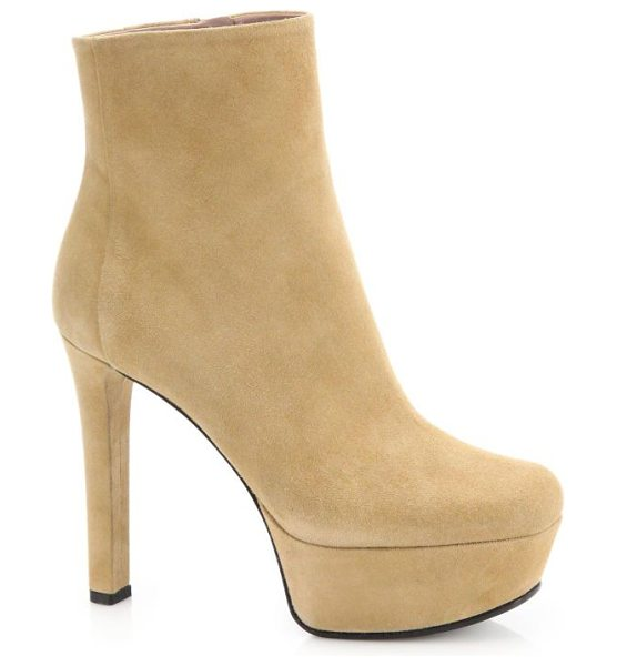 "GUCCI Leila suede platform booties - Self-covered heel, 3.33"" (85mm)Covered platform, 1""..."